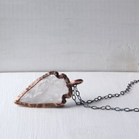 Raw Quartz Crystal Tribal Arrowhead Gemstone Necklace Minimal Clear Native Pendant Statement Necklace Crystal Necklace