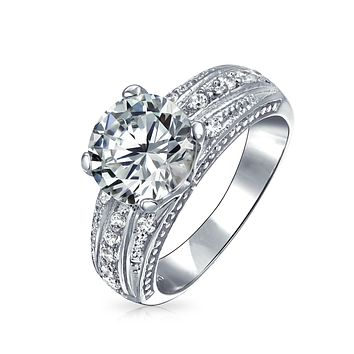 Vintage Style 3CT Round Brilliant Cut AAA CZ Solitaire Engagement Ring