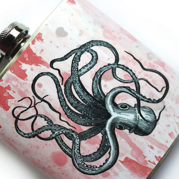 Silly Flailing Octopus Flask, Upside Down Octopus Abstract Art 6 oz Stainless Steel