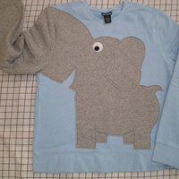 Fun Elephant Trunk sleeve sweatshirt LADIES S Powder Blue