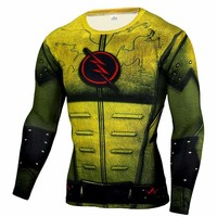 Yellow Flash Superhero Long Sleeve Compression Shirt