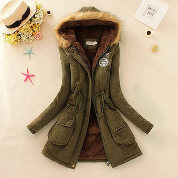S-3XL 2015 new Winter Womens Parka Casual Outwear Military Hooded Coat Winter Jacket Women Fur Coats Woman Clothes manteau femme