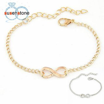 SUSENSTONE 2016 New Fashion Link Chain Women Men Handmade Gift Charm 8 Shape Jewelry Infinity Bracelet Siver and Gold