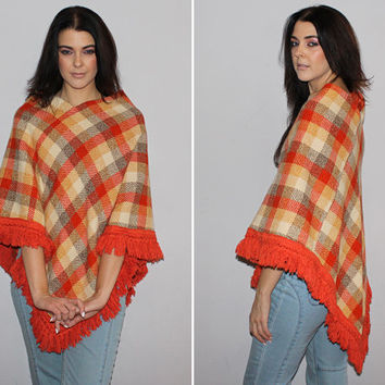 Vintage 60s 70s PLAID WOOL PONCHO / Burnt Orange, Cream, Brown Knit Cape / Fringe Poncho / Diagonal Cut / Boho, Hippie, Groovy / Fall Winter