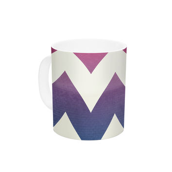 "Catherine McDonald ""Fade to Blue"" Chevron Ceramic Coffee Mug"