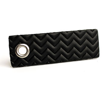 Striped Leather Keychain - Black