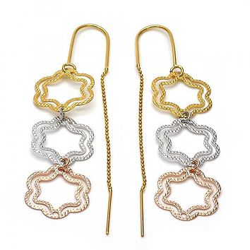 Gold Layered 5.095.005 Long Earring, Flower Design, Diamond Cutting Finish, Tri Tone