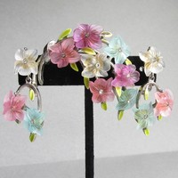 Signed ART Vintage Rhinestone, Molded Pastel Lucite Flower Bouquet Pin & Earrings Set