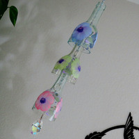 Glass Suncatcher, Upcycled wine bottle Suncatcher, Pastel Flowers, Pink, Green, Purple, Sun catcher, yard art