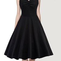 Black Pleated V-neck Sleeveless Vintage Homecoming Midi Dress