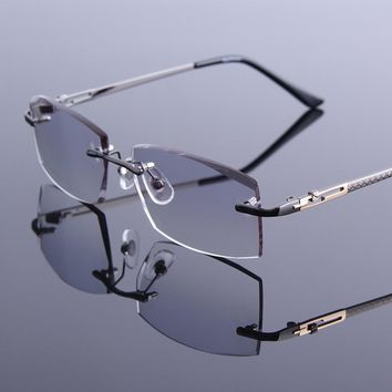 ad02ad1f28 High Grade Reading Glasses Men Cutting Edge Rimless Reader Glass