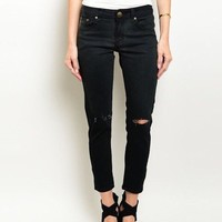 Ripped Kee Black Grazer Jeans