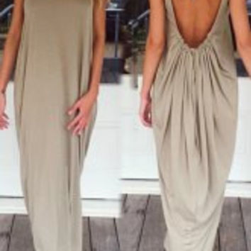 Khaki Backless Maxi Dress
