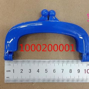 Free Shipping-6PCs Blue Colour Bead Purse Bag Plastic Frame Kiss Clasp Lock Handle 10cm DIY Handmade Bag Parts Accessories J2551