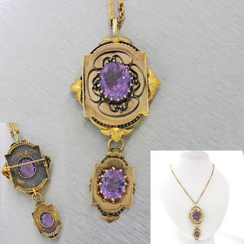 1870s Antique Victorian 14k Yellow Gold 9.34ctw Chunky Amethyst Pendant Necklace