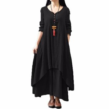 STYLEODME Women Casual Loose Long Sleeve V-Neck Dress Boho Solid Long Maxi Dress Vestidos Plus Size 5XL