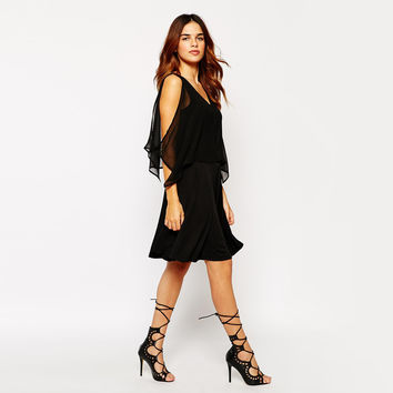 Black Off-Shoulder Mesh Dress with Back V Cut-out