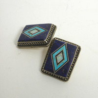 Navajo artist La Rose Ganadonegro Sterling Post-style earrings.