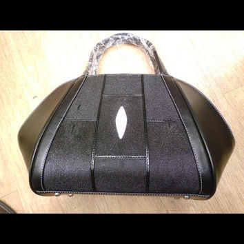 Black stingray leather womans bag