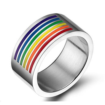 Fashion 10mm Wide Big Rings For Men Women Silver Plated Stainless Steel Rainbow Jewelry Large Ring