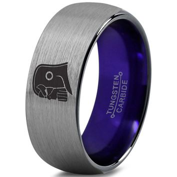 Thanos Inspired Purple Silver Dome Cut Tungsten Ring