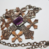Vintage Maltese Necklace Cross Sterling Renaissance Amethyst Crusader Pendant 1950s Jewelry