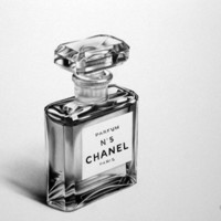 Still Life Perfume Bottle Vintage Chanel No 5 Fine Art Pencil Drawing Archival Print Hand Signed by Artist