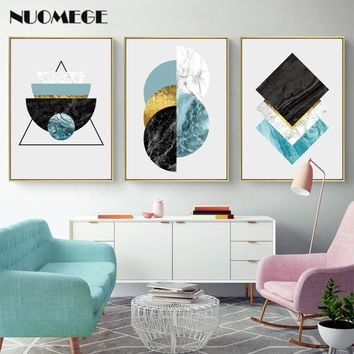 Modern Fresh Abstract Marble Poster Print Gold Foil Wall Art Canvas Painting Nordic Decorative Pictures on Wall Poster Art