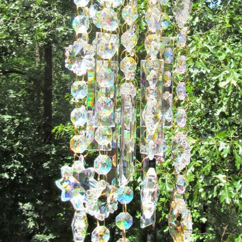 Crystal Wind Chime, Crystal Sun Catcher,  Glass Wind Chime, Garden Décor,  House Warming Gift, Gift for Her, Garden Accent, WC 113
