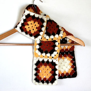 Granny Square Scarf /  Brown /  Valentines day / Mother's Day Gift