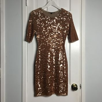 BCBGMaxAzria bronze tulle and sequins sheath dress sz S