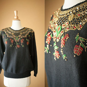 Vintage 80s Beaded Sweater | 80s Sweater Novelty Holiday Jumper Winter Slouchy Cosby Tacky Christmas Ugly Xmas Black Sweater Boxy Oversized