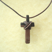 Hand-carved Ebony Wood Cross and Leather Necklace with African Brass Bead