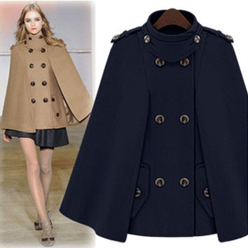 Luxury Womens Jacket Wool Poncho Batwing Cape Cloak Trench Parka Coat M L XL  F_F = 1902594244