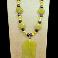 Necklace Beaded with Serpentine Stone