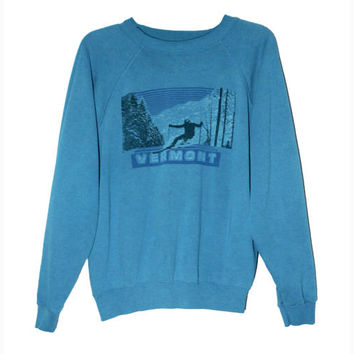 Vintage Retro 80s Vermont Skiing Snowboard Mountain Crewneck Sweatshirt | Adult Size Medium
