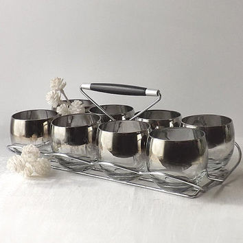 Vintage Dorothy Thorpe Roly Poly Glasses in Caddy, Set of 8 , Ombre Silver Rim 9 oz  Mad Men Barware
