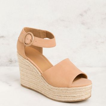 Head In The Clouds Light Tan Wedges