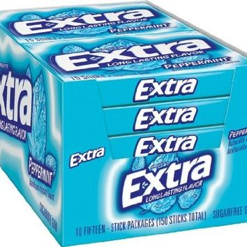 Extra Peppermint Gum, 15-Stick Slim Packs (Pack of 20)