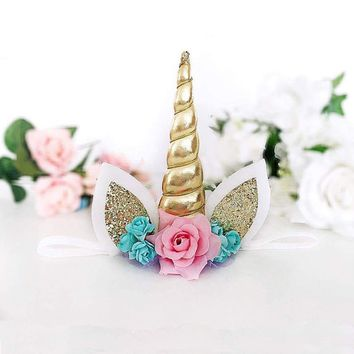 Magical Gold Unicorn Horn Head Party Kid Headband Fancy Dress Cosplay Decorative