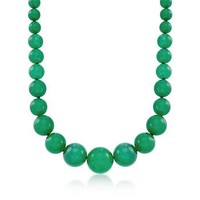 Ross-Simons - 8-20mm Graduated Green Jade Bead Necklace With 14kt Yellow Gold - #819811