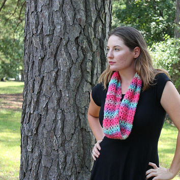 Double Layered Cowl, Infinity Scarf, Neckwarmer, Women, Teen, Circle Scarf, Pink and Blue Multi Scarf