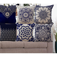 Bohemian Series Cushion Cotton linen Cushions Flower Throw Pillow Sofa Chair Square capa de almofada Decorative Pillows HH054