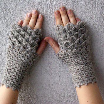 Fingerless gloves dragon egg pattern mittens Khaleesi arm warmers spring accessory - smoky beige neutral