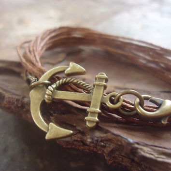 AHOY IN BRONZE wrap bracelet with anchor