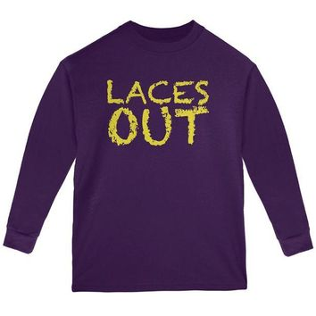 DCCKU3R Football Kicker Laces Out Ace Youth Long Sleeve T Shirt