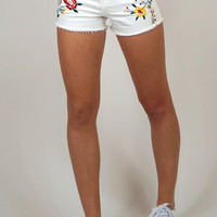 Flower Power Embroidered White Jean Shorts