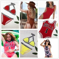 Hot 2018 Girls Bikini Set Women Swimsuit Sexy Rihana Same  HIL FIGER TOMMY Swim Wear Summer Bathing Suit