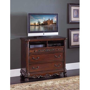 Traditional Style Carved Wooden TV Chest With 3 Drawers And 2 Shelves, Cherry Brown