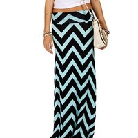 Navy/Mint Chevron Maxi Skirt
